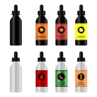 Bottiglia con eliquid per vape set di mockup di bottiglie realistiche con gusti