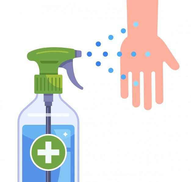 Una bottiglia con un antisettico medico per disinfettare le mani. illustrazione piatta isolati su sfondo bianco.