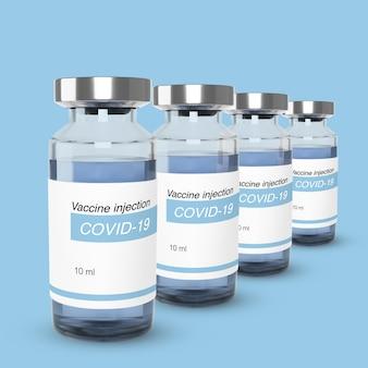 Bottiglia con vaccino da covid-19. modello di vaccinazione e trattamento. illustrazione realistica