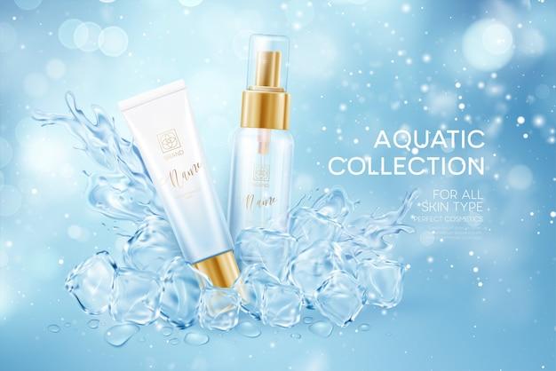 Bottiglie di cosmetici in cubetti trasparenti ghiacciati in acqua spruzzata corona isolata