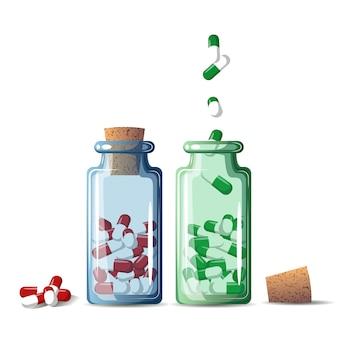 Bottiglie di pillole. stile cartone animato. illustrazione.
