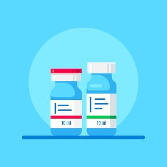Bottiglie di vaccino su sfondo blu. trattamento medico, sviluppo di vaccini e concetto di vaccinazione. stile piatto.