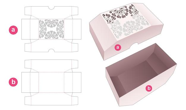 Vassoio smussato inferiore e coperchio smussato superiore che ha un modello fustellato a mandala stampato