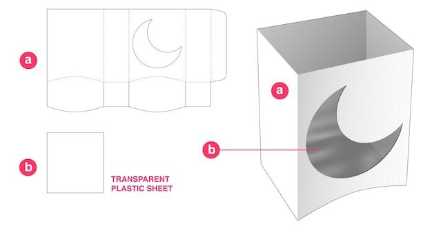 Scatola curva inferiore e finestra a forma di luna con sagoma fustellata in foglio di plastica trasparente
