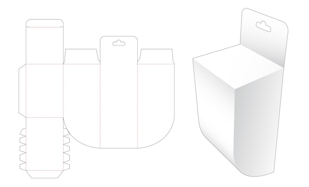 In basso una scatola ad angolo tondo con modello fustellato per fori appesi