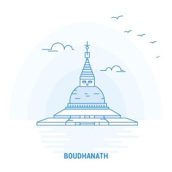 Punto di riferimento blu boudhanath