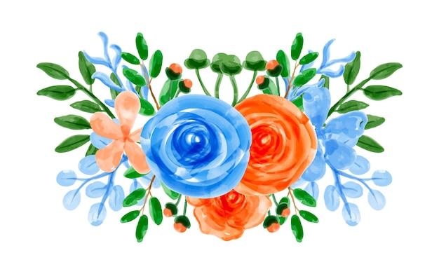 Bouquet di fiori d'arancio blu con acquerello