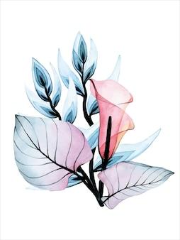 Composizione di bouquet di fiori trasparenti ad acquerello isolati su calla tropicale bianca