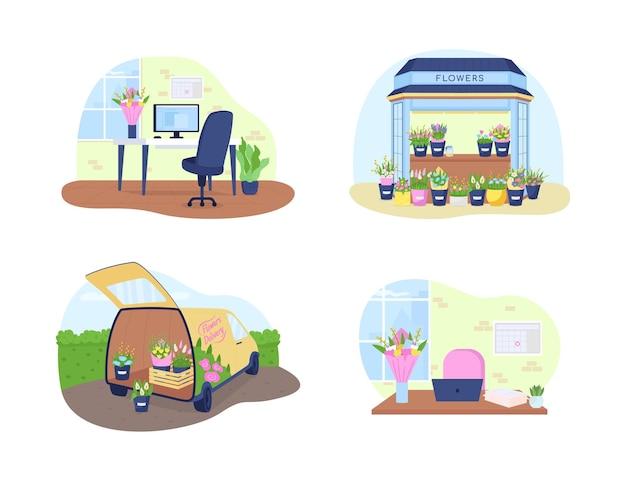 Bandiera di web di vettore 2d di consegna del mazzo, insieme del manifesto. negozio floreale, chiosco, scenario piatto furgone corriere su sfondo cartone animato. fiori romantici in vasi stampabili patch, collezione di elementi web colorati