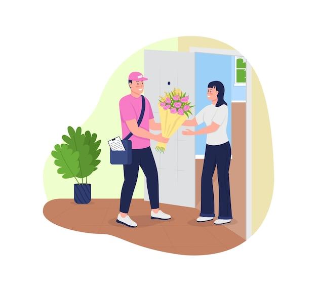 Consegna bouquet a domicilio 2d . corriere caucasico felice e donna sorridente piatta