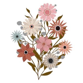 Un bouquet di diversi bellissimi fiori di campo con foglie del giardino. varie piante da fiore con fiori e steli. addobbi per matrimoni, saluti e regali. gli elementi sono isolati e modificabili.