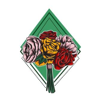 Bouquet di fiori rosa illustrazione