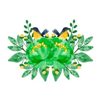 Bouquet di fiori verdi e uccelli con acquerello