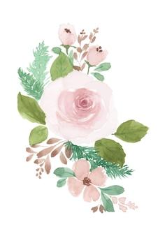 Bouquet rosa acquerello floreale dipinto a mano.