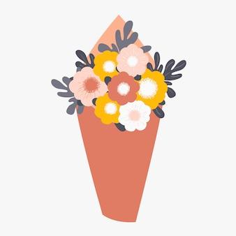 Bouquet di fiori primaverili avvolti in carta Vettore Premium