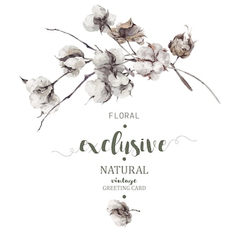 Bouquet di ramoscelli e fiori di cotone