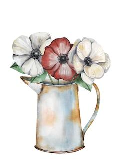 Bouquet di fiori di anemone dell'acquerello in un annaffiatoio vintage arrugginito