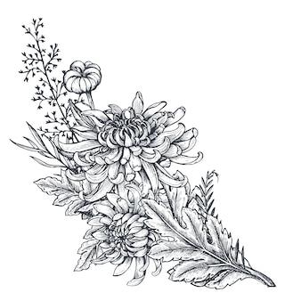 Bouquet con fiori di crisantemo disegnati a mano in bianco e nero