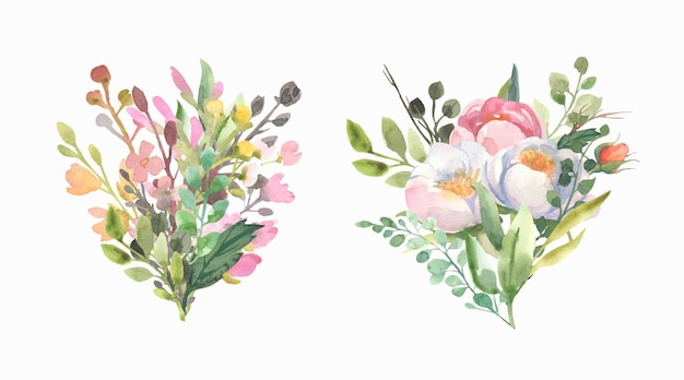 Bouquet con fiori, rose, foglie verdi.