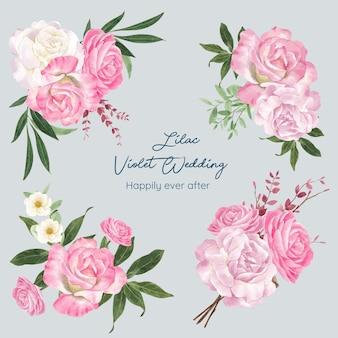 Bouquet con concetto di matrimonio viola lilla,stile acquerello