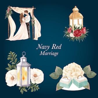 Bouquet con concetto di matrimonio rosso navy, stile acquerello