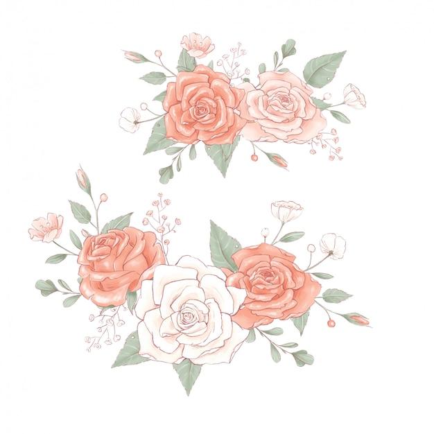 Bouquet di una corona di rose delicate.
