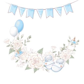 Compleanno della doccia del neonato della corona del mazzo. disegno a mano