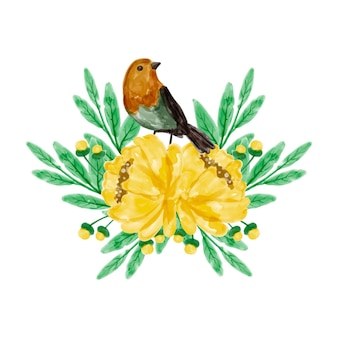 Bouquet di fiori gialli e uccelli con acquerello