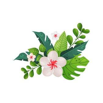 Mazzi di fiori tropicali e foglie isolati su bianco