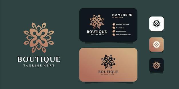 Boutique di bellezza fiore logo e modello di progettazione biglietto da visita.