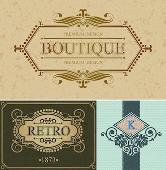 Bordo calligrafico boutique e marchio retrò, modello alligrafico retrò bordo lussuoso
