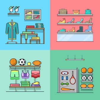 Boutique abbigliamento abbigliamento accessorio scarpe inventario sportivo negozio di attrezzi negozio interno set da interno. icone di stile piatto contorno corsa lineare. collezione di icone di colore.