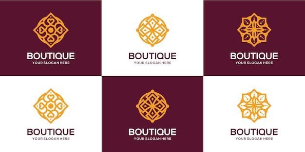 Pacchetto logo lusso boutique fiore