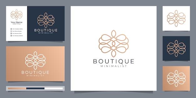 Boutique minimalista modello monogramma floreale semplice ed elegante