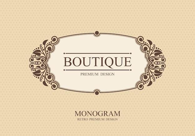 Modello di logo monogramma boutique con elementi di ornamento elegante calligrafico fiorisce,