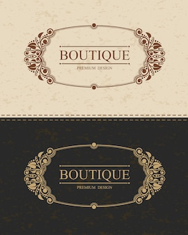 Modello di logo monogramma boutique con elementi di ornamento elegante calligrafico fiorisce.