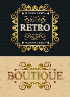 Elementi di design vintage monogramma di marca boutique e retrò, modello calligrafico retrò bordo lussuoso, decorazioni eleganti linee reali