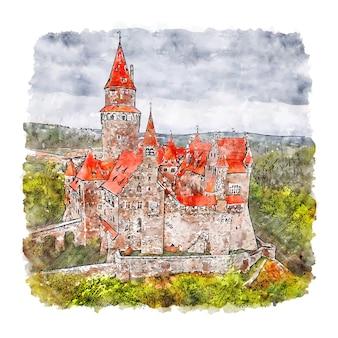 Illustrazione disegnata a mano di schizzo dell'acquerello della repubblica ceca del castello di bouzov