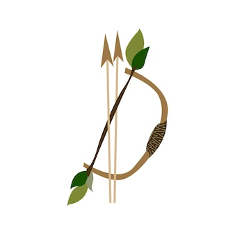 Arco e frecce illustrazione vettoriale disegnata a mano in stile scandinavo e indiano