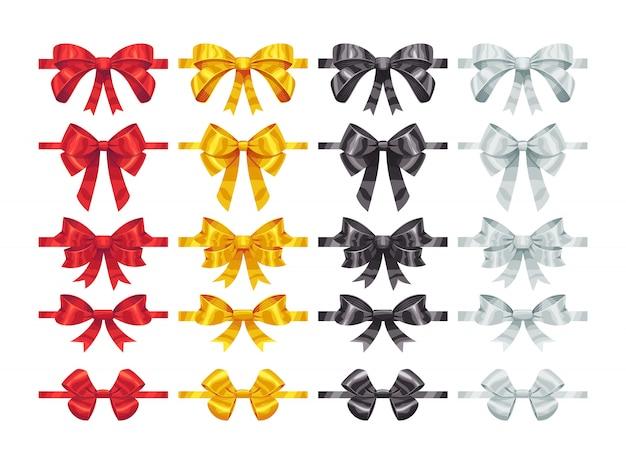 Elementi di nodi di prua. collezione di parti decorative archi colorati.