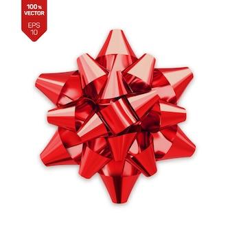Arco. fiocco regalo realistico rosso isolato su bianco