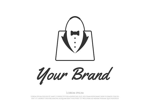 Papillon tuxedo suit gentleman fashion tailor clothes vintage classic logo design vector