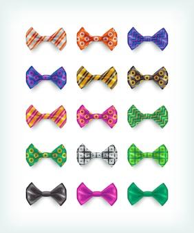 Collezione di icone di papillon. diverse illustrazioni di cravatta di colore e modello