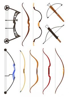 Icona stabilita del fumetto dell'arma dell'arco. illustrazione longbow su sfondo bianco.