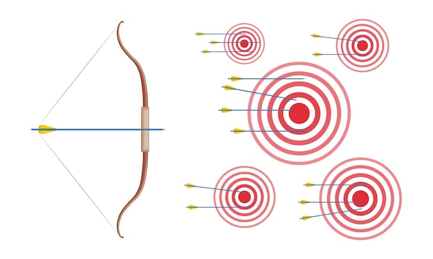 L'arco con le frecce e gli anelli del cerchio rosso bersagli l'illustrazione di vettore