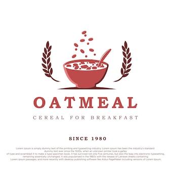 Una ciotola di cereali con due fiocchi d'avena design del logo di farina d'avena in stile retrò vintage