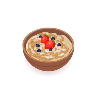 Ciotola di delizioso porridge di avena decorato con fragole fresche e mirtilli isolati su sfondo bianco
