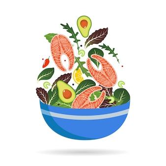 Ciotola di mix fresco di foglie di insalata, verdure e salmone.