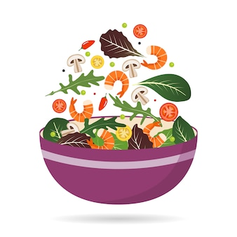 Ciotola di mix fresco di foglie di insalata, verdure e gamberi. rucola, pomodori, paprika, peperoni e funghi.