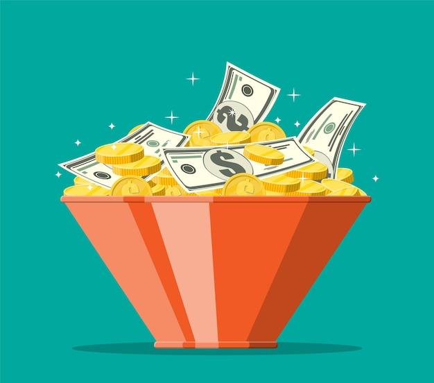 Ciotola piena di monete d'oro e banconote in dollari. denaro, concetto di risparmio, donazione, pagamento. simbolo di ricchezza. illustrazione vettoriale in stile piatto